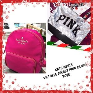 KATE SPADE BACKPACK & VICTORIA S PINK BLING TOTE